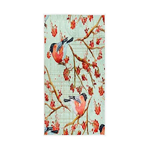 F17 - Toalla de mano vintage con diseño de pinzones de pájaro, flor de 76,2 x 38,1 cm, para el hogar, cocina, baño, gimnasio, natación, spa