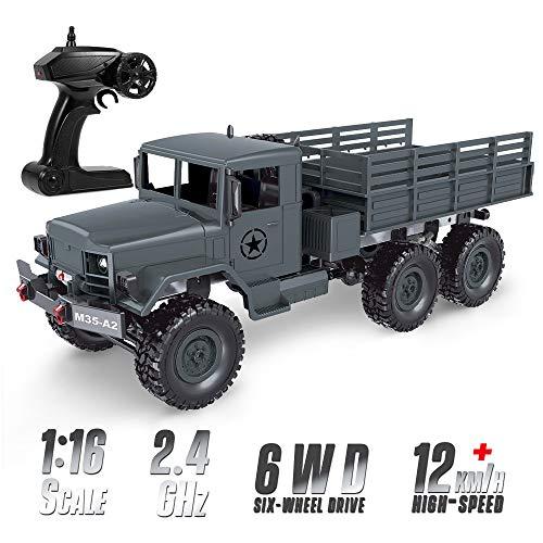 Goolsky- MN-77 1/16 Camión Militar 2.4G 6WD Camión Todoterreno Coche RC Vehículo Eléctrico de Alta Velocidad Luz LED Camión RC para Niños Adultos RTR
