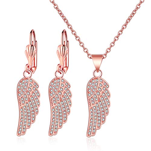 14k White/Rose Gold Plated Mini Cubic Zirconia Angel Wing Pendant Necklace Dangle Earrings Jewelry Set (Rose Gold Plated)