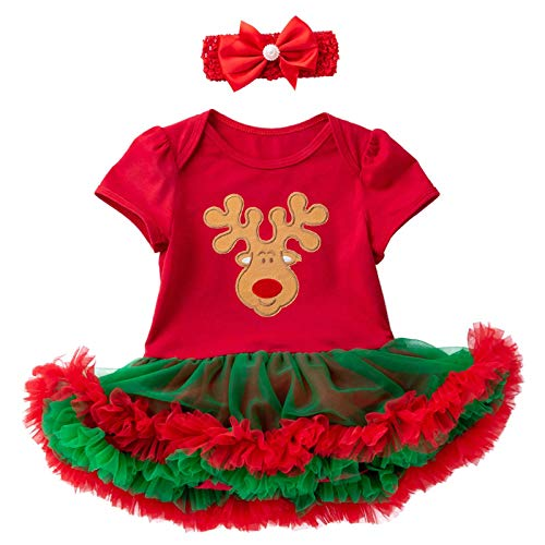 GYPPG Mameluco de Navidad para niñas recién Nacidas, Falda tutú, Camiseta de Manga Corta, Top y Diadema,...