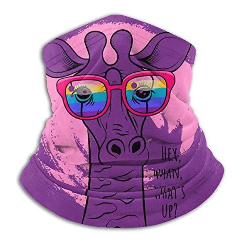 Calentador de Cuello Jirafa con Gafas arcoíris Calentador de Cuello Pasamontañas a Prueba de Viento Capucha de Lana Sombreros de Invierno UV Gratis