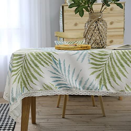 Mantel de Encaje de Planta Verde Mantel de Lino de algodón Mantel de Comedor Cubierta de Mesa de Centro Banquete de Boda Muebles de Cocina paño de Polvo X140x220cm