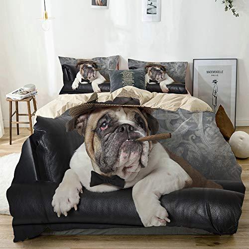 MJIAX Bettwäsche-Set Mikrofaser,Beige,Porträt der englischen Bulldogge, die in einem schwarzen Ledersessel mit Einer Zigarre ruht,1 Bettbezug 240x260 + 2 Kopfkissenbezug