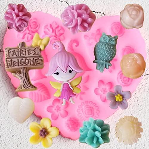 Moldes de silicona, herramientas de decoración de pasteles para fiestas de bebés DIY Molde de silicona para jardín de hadas Hojas de flores de rosas Molde para hornear Fondant de arcilla y chocolate