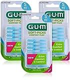 GUM SOFT-PICKS COMFORT FLEX Palillos Interdentales de Goma/Eliminan eficazmente la placa y los restos de alimentos/Suaves y flexibles/Con estuche de viaje/Tamaño pequeño / 3 paquetes de 40 unidades