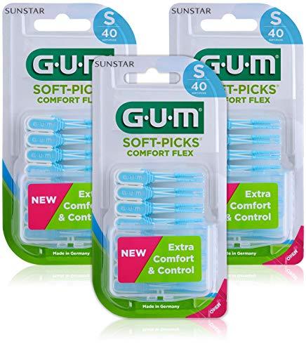 Palillos interdentales desechables GUM SOFT-PICKS COMFORT FLEX, talla pequeña (Small), cuidado diario de las encías, 3 x 40 unidades, 120 palillos en total