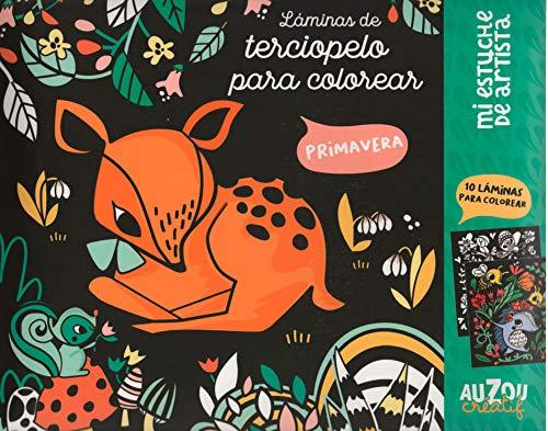 Auzou creatif- Láminas de Terciopelo para Colorear: Primavera (1)