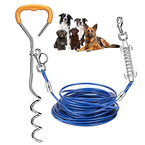 Intsun Dog Tie Out Cable Stake, 33ft Dog Yard Leash and Corkscrew Stake 16in with Ergonomic Handle, Durable Spring Dog Chain for Outside Ground, Yard, Camping for Medium to Large Pets up to 120lb