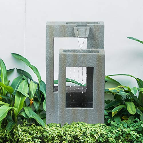 GardenKraft Outdoor Fountains / Cascading Water Feature / Weatherproof...