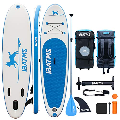 IBATMS Inflatable Stand Up Paddle Board Planing Hull with Premium SUP Accessories & Backpack, Non-Slip Deck,Waterproof Bag, Leash, Fin,Paddle and Hand Pump Youth & Adult