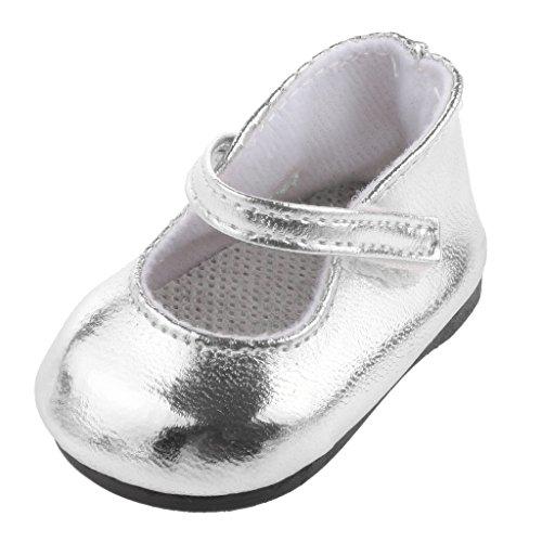 MagiDeal 1 Par Zapatos Color Plata Decoración para Muñecas Niñas Americanas Moda