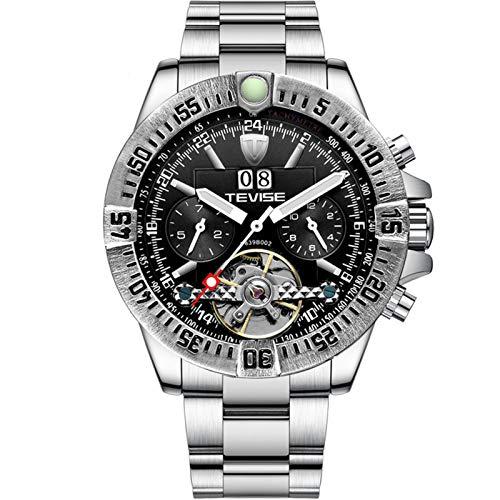 ZBHWYD Relojes para Hombres, Relojes mecánicos, Relojes para Hombres, Relojes mecánicos de Acero Inoxidable, Relojes automáticos, Correas de Acero (para Hombres y Mujeres),Silver Black