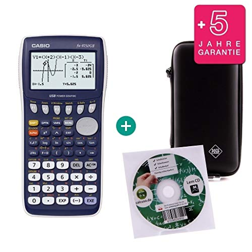 Casio FX-9750GII + Erweiterte Garantie + Lern-CD (auf Deutsch) + Schutztasche