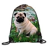 uykjuykj Drawstring Backpack Gentle Pug5 Lightweight Unique 17x14 IN