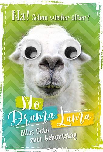 Geburtstagskarte Lama mit Kulleraugen | Geburtstagskarte lustig | Geburtstagskarte Set mit Umschlag | Glückwunschkarte zum Geburtstag | DIN B6 176 x 125 mm | inkl. Umschlag