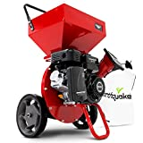 EARTHQUAKE Chipper Shredder K33,33964 Heavy Duty 301cc, 4 Cycle Viper Engine, 5-Year Warranty, Dock-and-Lock Debris Bag, 3' Max Wood Diameter Capacity, Red