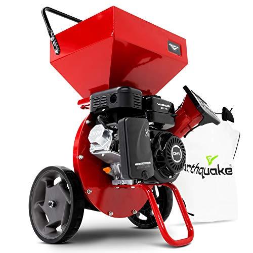 EARTHQUAKE Chipper Shredder K33,33964 Heavy Duty 301cc, 4 Cycle Viper Engine, 5-Year Warranty, Dock-and-Lock Debris Bag, 3  Max Wood Diameter Capacity, Red