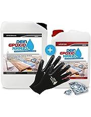 Dikke laag, epoxyhars met verharder, set van 9,6 kg, professionele kwaliteit, ultrahelder en geurarm, 10 cm in één stuk + beschermende handschoenen.