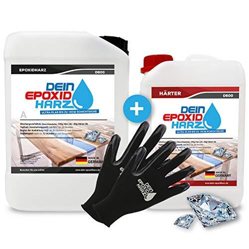 Dickschicht - Epoxidharz mit Härter | 9,6kg Set | Profi Qualität, ultraklar & geruchsarm | 10cm in einem Guß + Schutzhandschuhe