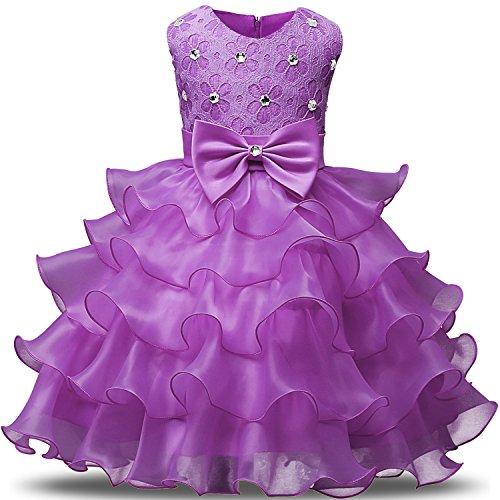NNJXDGirlDressKidsRufflesLacePartyWeddingDressesSize(140)6-7YearsLight Purple