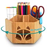 BambuMate Bamboo Rotating Organizer, School Office Desktop Organizer Art Supply with 7 Compartments, Storage Caddy for Pens, Markers, Paint Brushes, Scissors, Clips & More