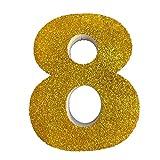 Letra del Alfabeto y Numeros en poliestireno de 20 centimetros de Altura y 3 centimetros de Grueso para Decoracion con Purpurina Oro para Eventos, Bodas y Fiestas (8)