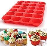 Moulle Silicone Muffin Anti-AdhÉSif Pour 24 Mini Muffins 1 / 2 Pack, Alimentaire Sans BPA RÉUtilisables Ecologiques 24 Mois De Garantie cup cakes Brownies Gâteaux couleur bleu rouge (1 Pack, Rouge)