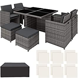 TecTake 403082 Ensemble Salon de Jardin en Aluminium Résine Tressée Poly Rotin Table Set 4+1+4, avec Housse de…