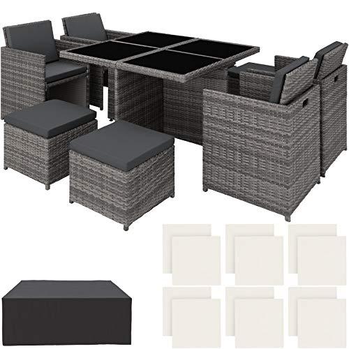TecTake Conjunto Muebles de jardin en Aluminio y ratan sintetico Comedor Juego 4+4+1 + Funda Completa + Set de Fundas Intercambiables | Tornillos de Acero Inoxidable (Gris | No. 403082)