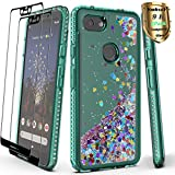 YmhxcY Google Pixel 3A XL Case Pixel 3 Lite XL Case with Tempered Glass Screen Protector [2 Pack], Glitter Liquid Waterfall Flowing Sparkle Diamond Girls Cute Phone Case for Google Pixel 3 XL-AX Teal