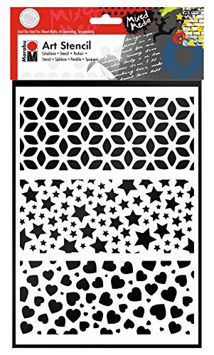Marabu 0285000000009 - Art Stencil, Motivschablone für effektvolles Schablonieren auf Papier, Keilrahmen, Holz und Textilien, PVC - frei, lasergeschnitten, wiederverwendbar, DIN A4, Modern Combination