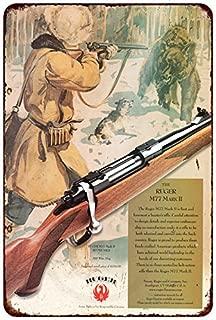 Custom Kraze Ruger M77 Mark II Rifle Vintage AD Reproduction Metal Sign 8 x 12