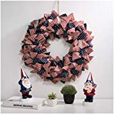 Glitzhome 19' D Fabric Patriotic Stripes and Stars Patriotic Wreath for July 4th, Memorial Day, Father's Day, and Labor Day