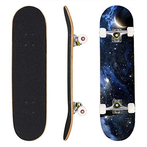 JIEROU Skateboard 7-lagigem Ahornholz Longboard Komplettboard 31 x 8 Zoll Mit ABEC-9 Kugellager bis 100Kg unterstützt für Anfänger Erwachsene Jugendliche und Kinder (A)