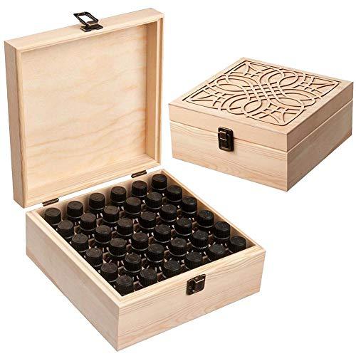 Urben Life 36 fles etherische oliën bewaarkoffer draagtas van hout voor etherische olie draagbare etherische olie reisbox houder organize perfect voor Young Living (5ml 10ml 15ml