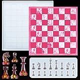 Juego de moldes de resina epoxi, para moldear el tablero de ajedrez, figuras de ajedrez, molde de silicona, set DIY de resina para la fabricación de arte