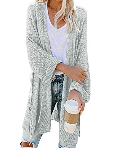 Traleubie Women's 3/4 Sleeve Fashion Maternity Outerwear Kimono Cardigan Sweaters Silver Gray L-XL