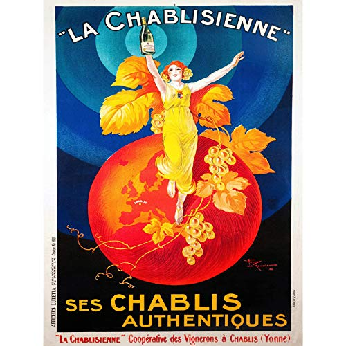 Wee Blue Coo Chablis Wijn Vintage Ingelijste Muur Art Print 18X24 In