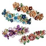 4TLG Farbenfrohe altmodische Blumen Design Metall französische Haarspangen Accessoires Frauen Mädchen