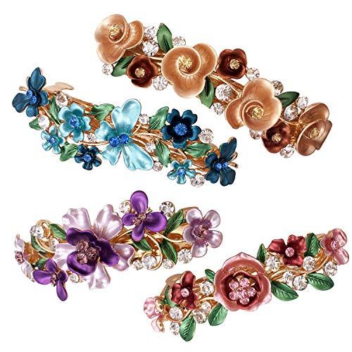 Lot de 4 Barrettes Vintage Colorées avec Design Fleurs - Accessoires Cheveux pour Femmes Filles