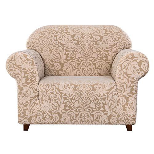 Subrtex - Funda de sofá con reposabrazos jacquard Damasco, funda de sillón extensible sofá protector decorativo (1 plaza, beige marrón)
