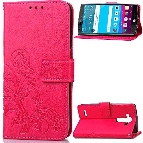 1fortunate Cajas del teléfono para LG G4, Luxury Retro Phone Case Flip PU Cuero + TPU Cartera Funda para LG G4 H815 H810 H811 Funda de Ranura para Tarjeta (Color : Pink)