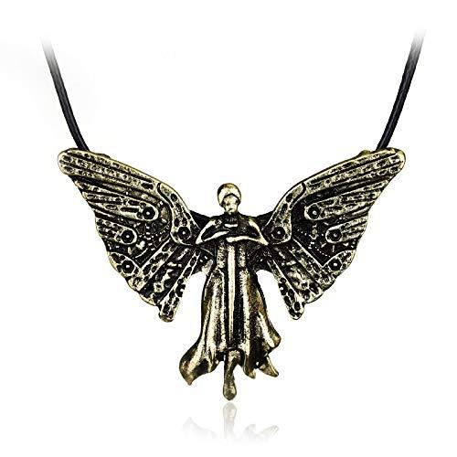 Collar Clockwork Angel Colgante, Collar Vintage, Bronce, Joyas De Cuero