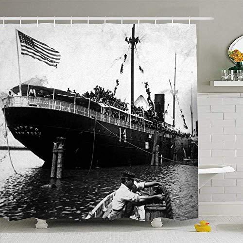 N/A douchegordijnenset met haken 72x72 1890S witte hoed Spaanse Amerikaanse augustus 1898 Mannen Roosevelts 19e zwarte boot water eeuw klimmen waterdicht polyester stof baddecoratie voor badkamer