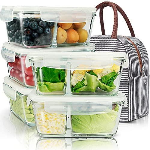 5 Pack 35.5oz Glass Meal Prep Containers 2 Compartments with Lids Portion Control Containers Glass Storage Food Prep Containers Lunch Containers with Lids, For Oven Freezer Dishwasher