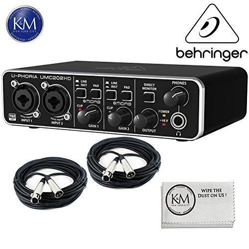 Behringer U-PHORIA UMC404HD USB 2.0 Audio MIDI Interface with 2 x Senor 20ft Structure XLR Cables and Zorro Sounds Cloth Bundle