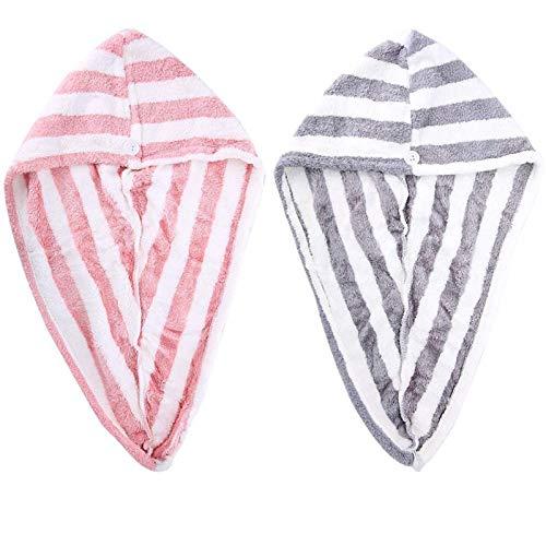 Paquete de 2 turbantes de Microfibra para el Pelo, para Mujer
