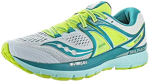 Saucony Womens Triumph ISO 3 Running Shoes White Teal Citron 555 UK