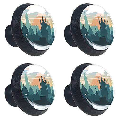 KAMEARI City 4 pomos de cajón con forma de círculo de cristal de cristal, con tornillos, para casa, cocina, oficina
