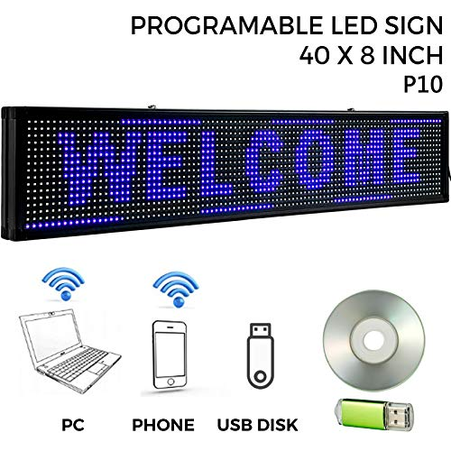 """VEVOR Led Sign 40"""" x 8"""" Digital Sign Blue Color Indoor with high Resolution P10 Led Scrolling Display Programmable by PC & WiFi & USB for Advertising"""